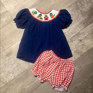 Smocked school outfit 12 months